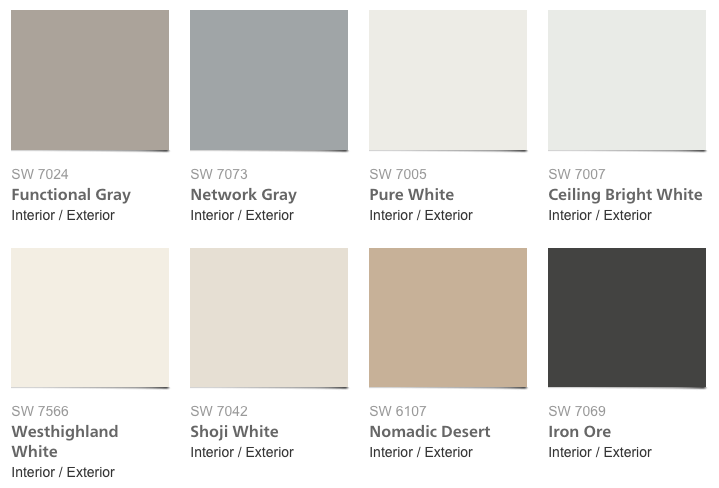 Sherwin Williams Pottery Barn Paints - Neutrals